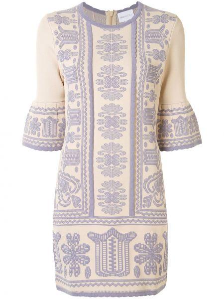 Светло-розовое нейлоновое прямое платье мини с вышивкой Alice Mccall