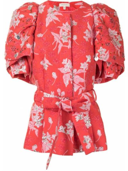 Розовая короткая куртка с поясом металлическая для полных Delpozo