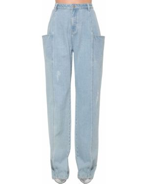 Niebieskie jeansy z wysokim stanem na plażę Annakiki