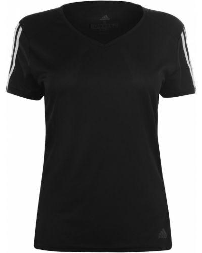 Czarny t-shirt z dekoltem w serek krótki rękaw Adidas