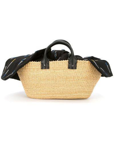 Соломенная сумка-тоут с вышивкой Muun
