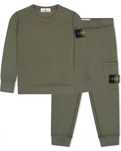 Zielony dres bawełniany z długimi rękawami Stone Island Junior