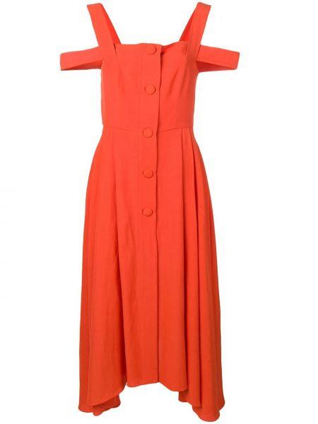 Платье миди с открытыми плечами - красное Isa Arfen