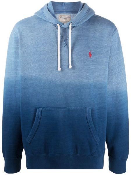 Niebieski koszulka polo z haftem z długimi rękawami z kieszeniami Polo Ralph Lauren