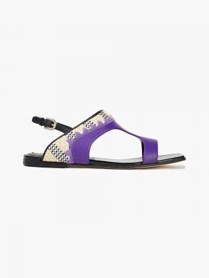 Fioletowe sandały skorzane z haftem Emilio Pucci