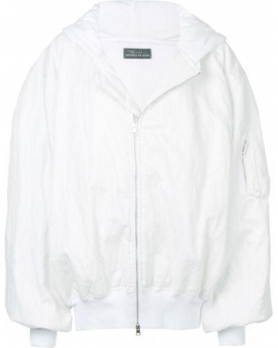 Прямое белое длинное пальто с капюшоном Barbara Bologna