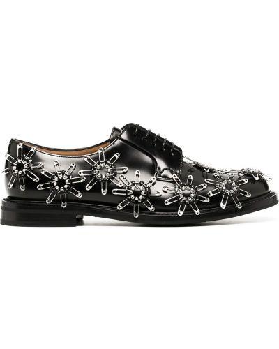 Кожаные черные оксфорды на каблуке на шнуровке Comme Des Garçons Noir Kei Ninomiya