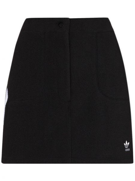 Черная прямая юбка мини с карманами Adidas
