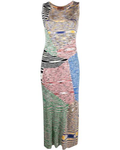 Прямое зеленое трикотажное платье миди Missoni