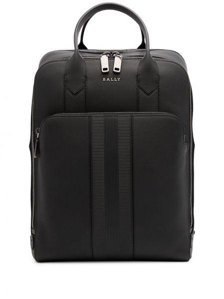 Czarny plecak na laptopa skórzany z printem Bally