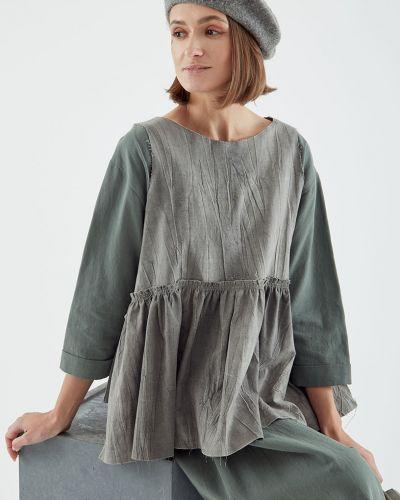 Серая блузка без рукавов свободного кроя черешня
