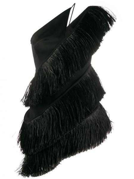 Czarna sukienka koktajlowa asymetryczna z frędzlami David Koma