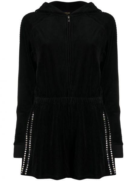 С рукавами хлопковый черный комбинезон с капюшоном Juicy Couture