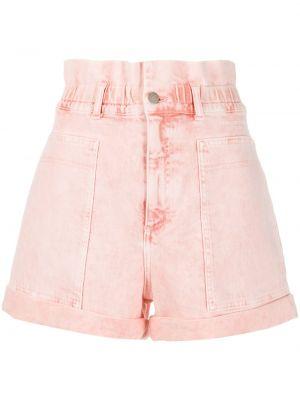 Розовые джинсовые шорты со стразами с карманами на пуговицах Stella Mccartney