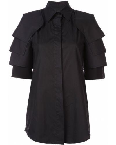 Приталенная рубашка с коротким рукавом - черная Vera Wang