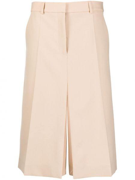 Бежевая деловая с завышенной талией юбка с поясом Stella Mccartney