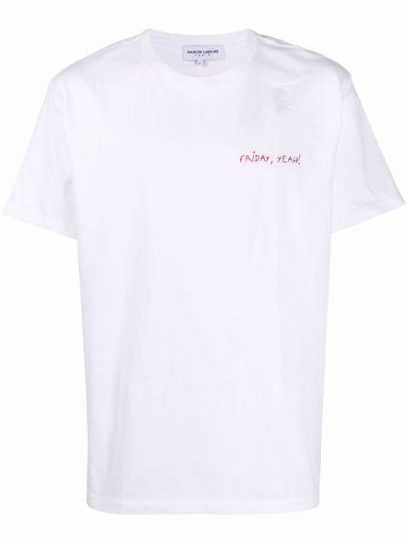 Biała t-shirt z haftem Maison Labiche