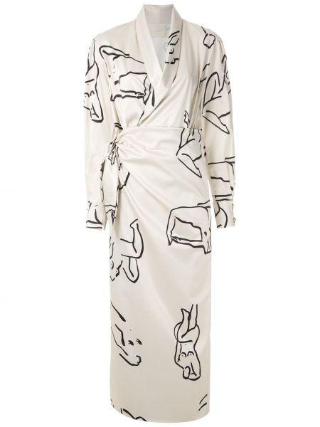 Платье миди с запахом с V-образным вырезом Framed