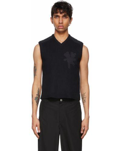Czarny sweter bez rękawów z dekoltem w serek Marc Jacobs
