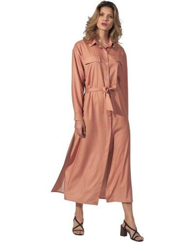 Beżowa sukienka z długimi rękawami Figl