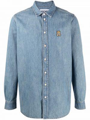 Хлопковая рубашка с длинным рукавом с медведем на пуговицах Moschino