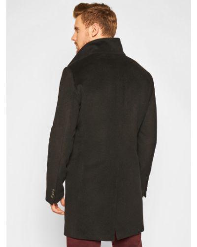 Czarny płaszcz wełniany Oscar Jacobson