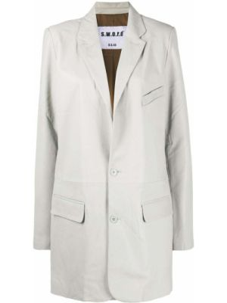 Синий кожаный пиджак оверсайз S.w.o.r.d 6.6.44
