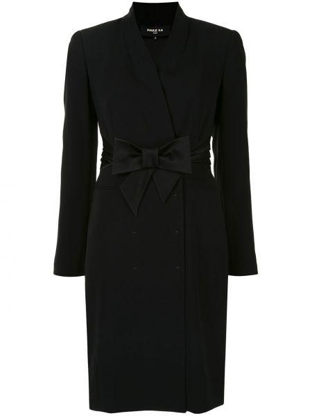 Черное платье макси с V-образным вырезом с длинными рукавами Paule Ka