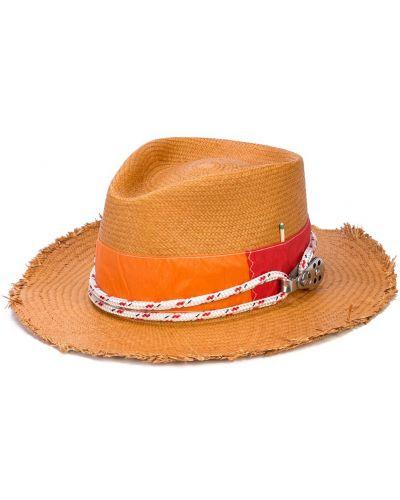 Коричневая шляпа соломенная свободного кроя Nick Fouquet