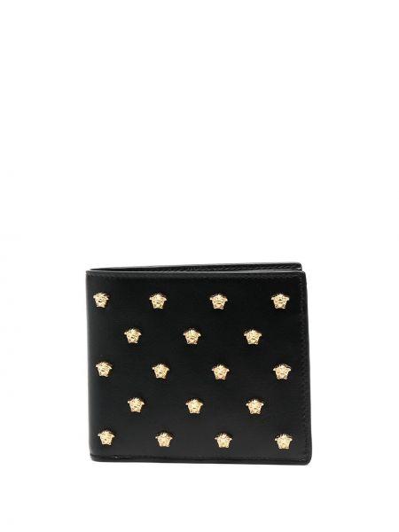 Черный кожаный кошелек с заклепками Versace