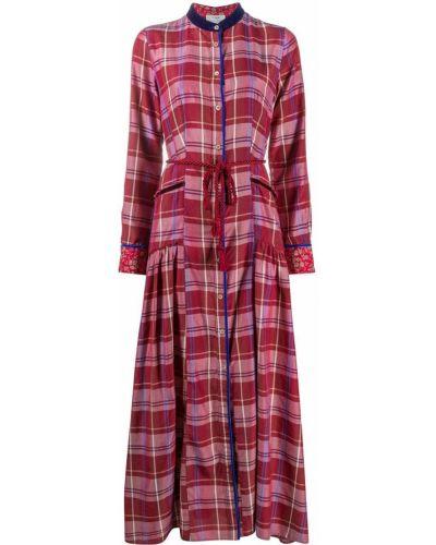 Шелковое красное платье макси с длинными рукавами Forte Forte