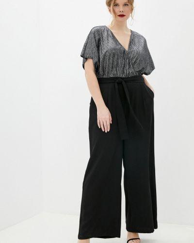 Черный комбинезон с шортами Yumi
