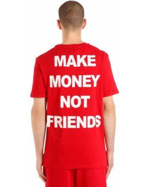 T-shirt bawełniany z printem Make Money Not Friends