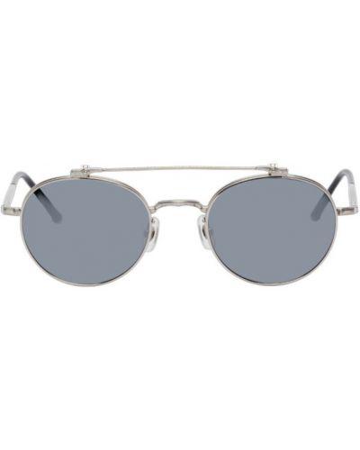 Кожаные черные солнцезащитные очки круглые Matsuda