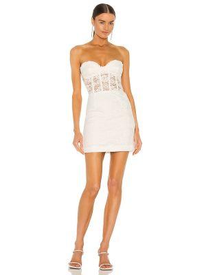Бежевое кружевное платье мини с декольте Bardot