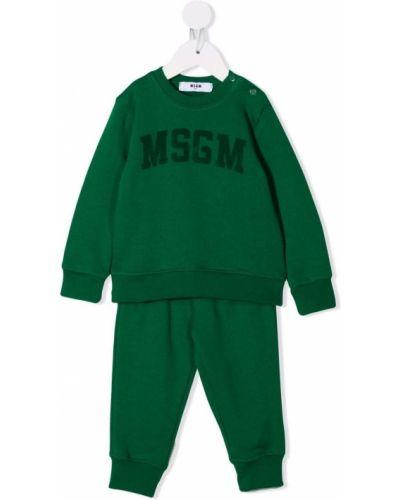 Zielony dres bawełniany Msgm Kids