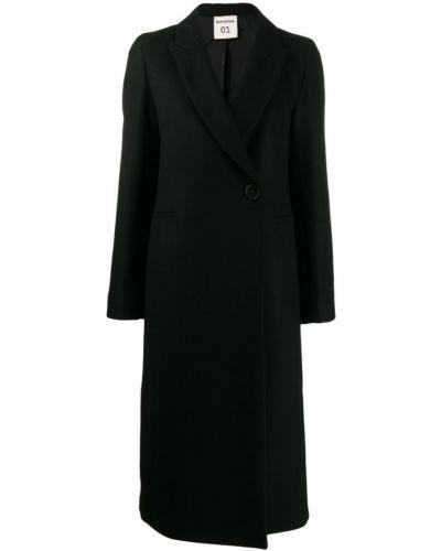 Однобортное шерстяное черное длинное пальто Semicouture