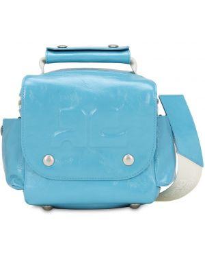 Niebieska torba podróżna skórzana Courreges