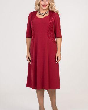 С рукавами расклешенное вечернее платье с люрексом с вырезом Luxury