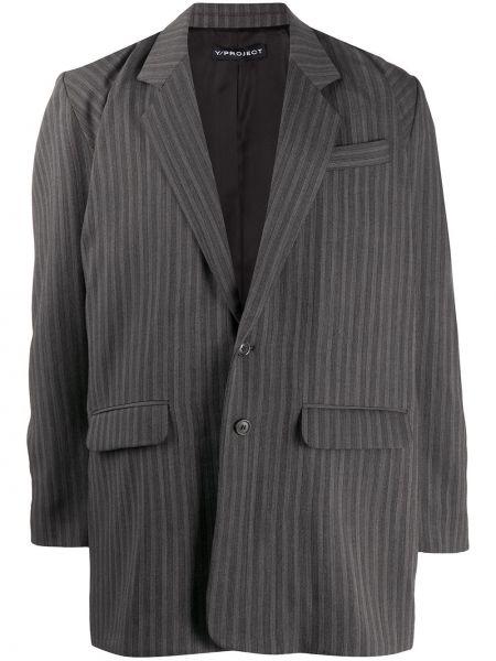 Серый удлиненный пиджак оверсайз с карманами Y/project