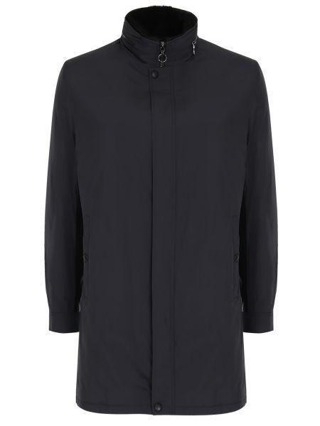 Кожаный черный плащ на молнии с карманами Seraphin