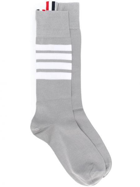 Хлопковые вязаные коричневые носки высокие без застежки Thom Browne