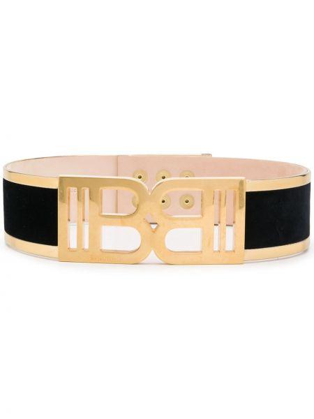 Золотистый кожаный черный ремень с пряжкой Balmain