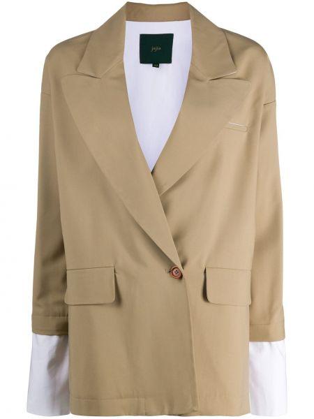 Шерстяной бежевый пиджак с карманами Jejia