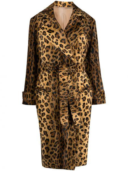 Хлопковое коричневое длинное пальто свободного кроя Blazé Milano