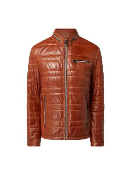 Brązowa kurtka skórzana pikowana Milestone