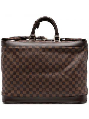 Brązowa torba podróżna skórzana klamry Louis Vuitton