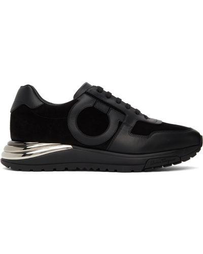 Кожаные кроссовки - черные Salvatore Ferragamo