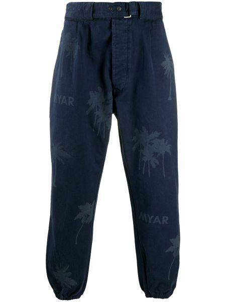 Niebieskie spodnie bawełniane z printem Myar