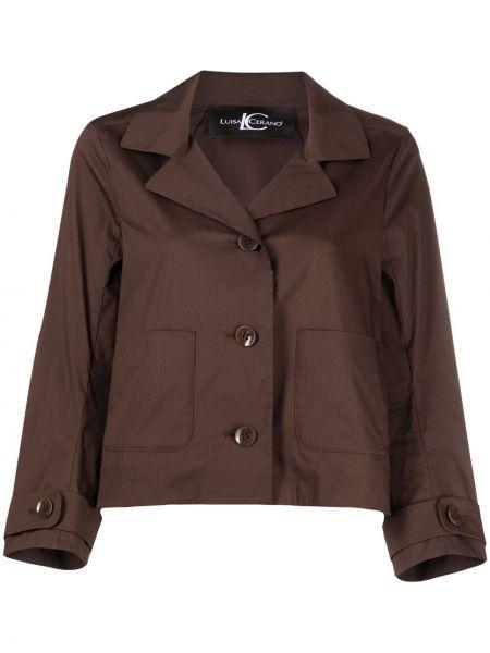 Коричневый пиджак с накладными карманами на пуговицах Luisa Cerano